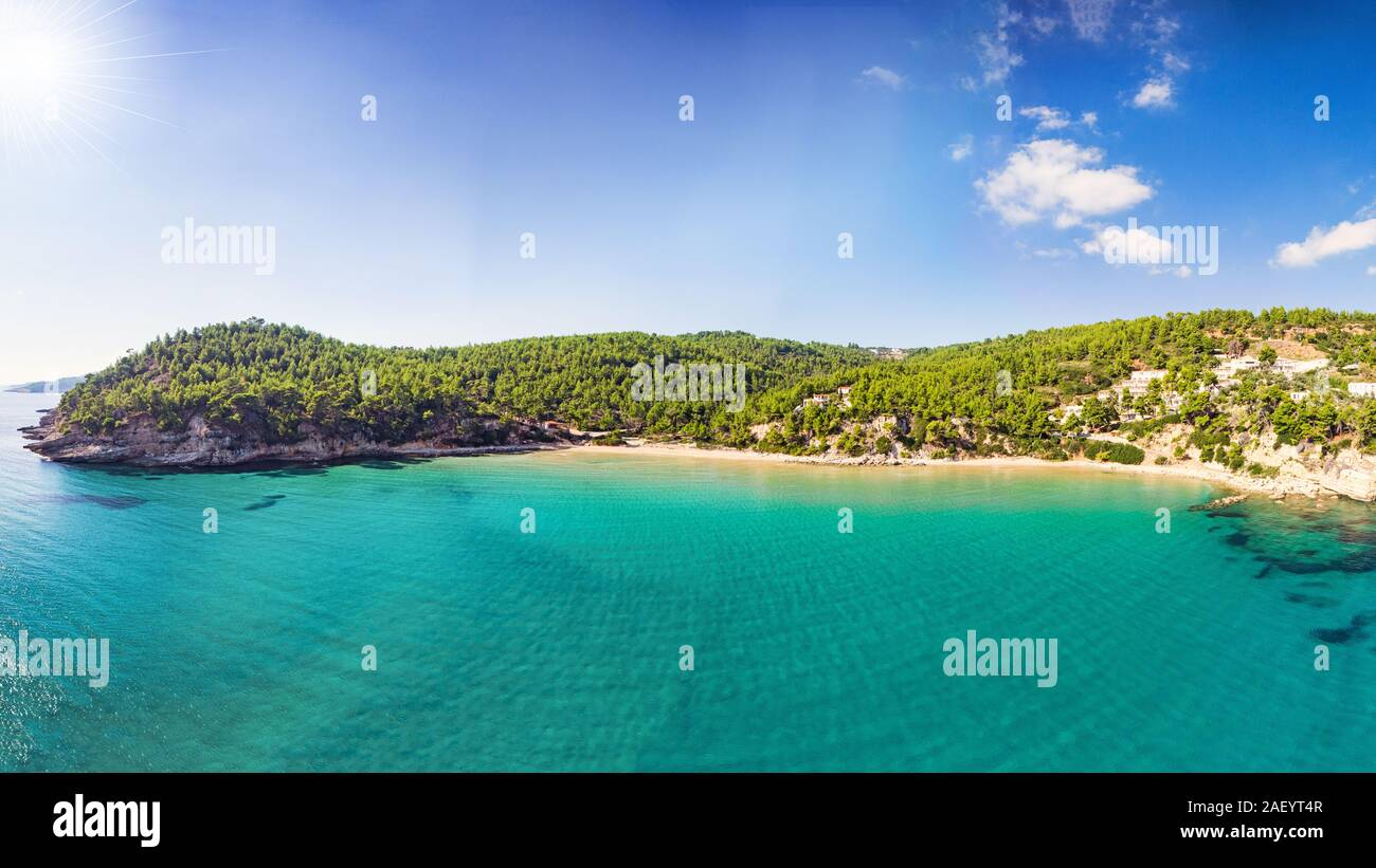 The beach Chrisi Milia of Alonissos island from drone view, Greece Stock Photo