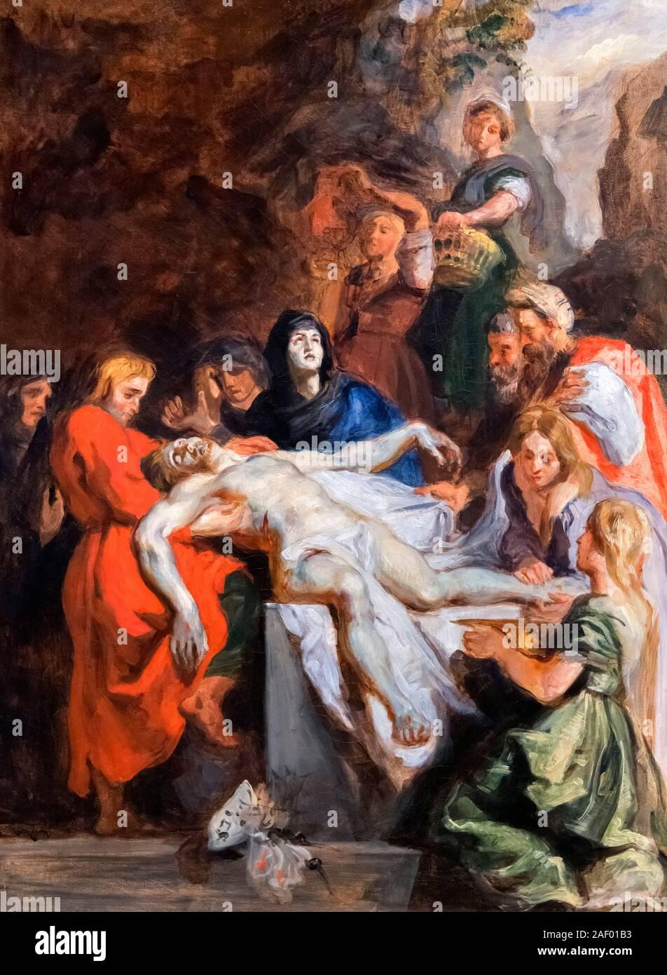 The Entombment (after Peter Paul Rubens) by Eugène Delacroix (1798-1863), oil on canvas, 1836 Stock Photo