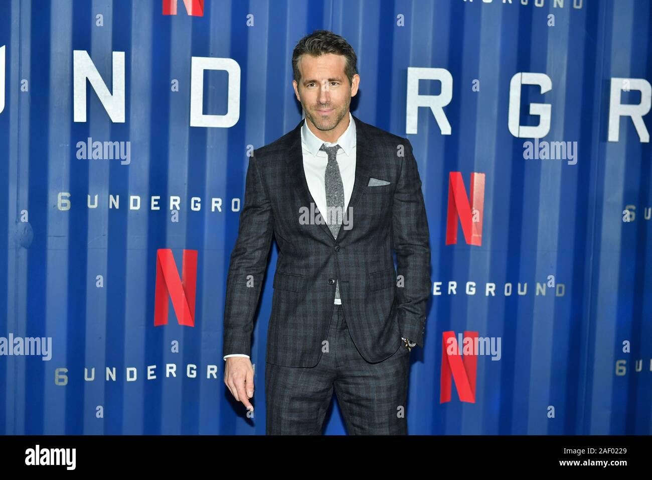 """Ryan Reynolds attends Netflix's """"6 Underground"""" New York Premiere at The Shed on December 10, 2019 in New York City. Stock Photo"""
