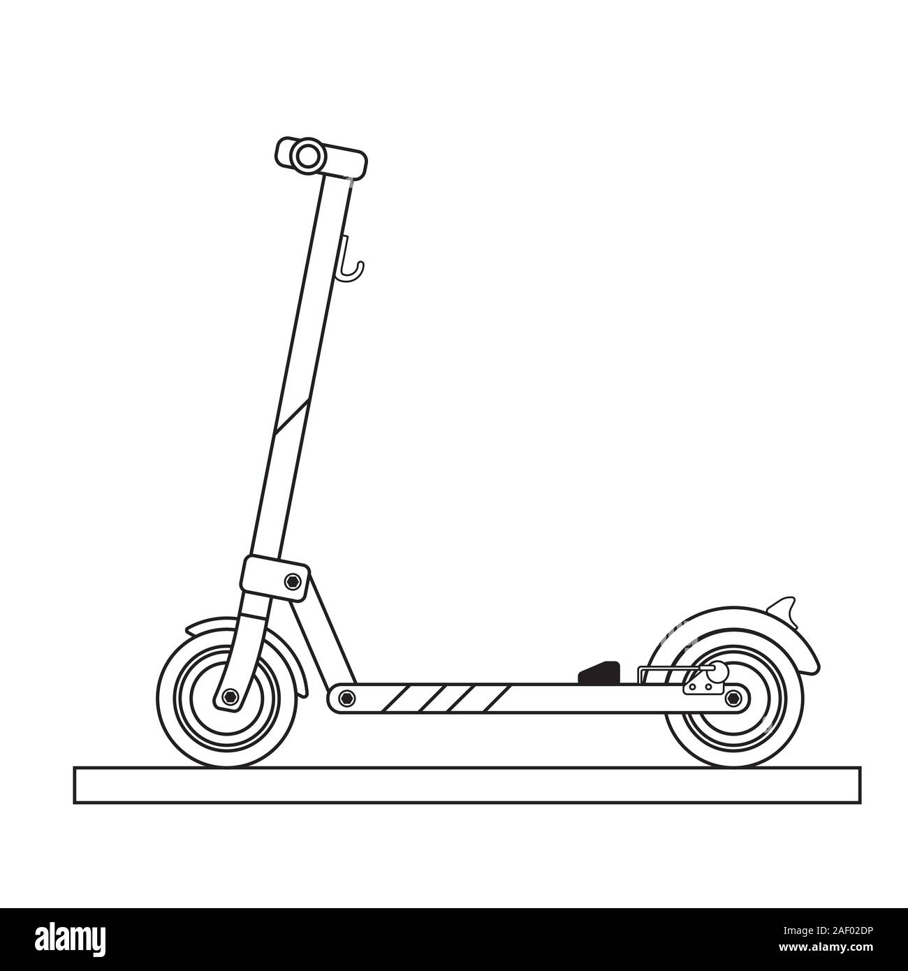 Modern Electric Kick Scooter Drawn In Line Art Style Stock Vector Image Art Alamy