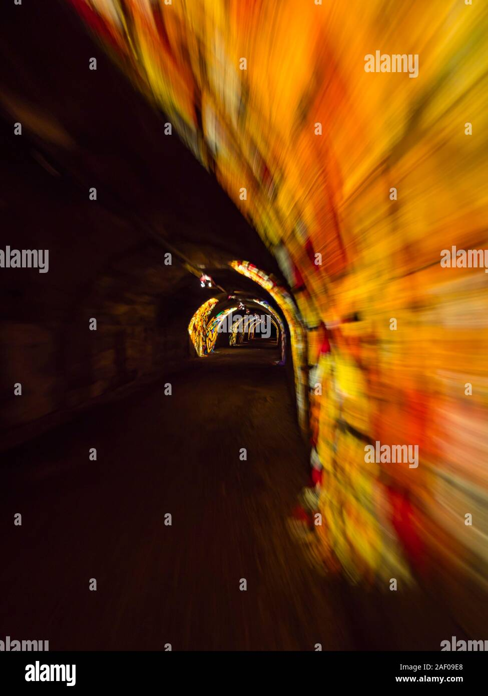 Underground tunnel under Rijeka in Croatia lighted illuminated for festivity Stock Photo