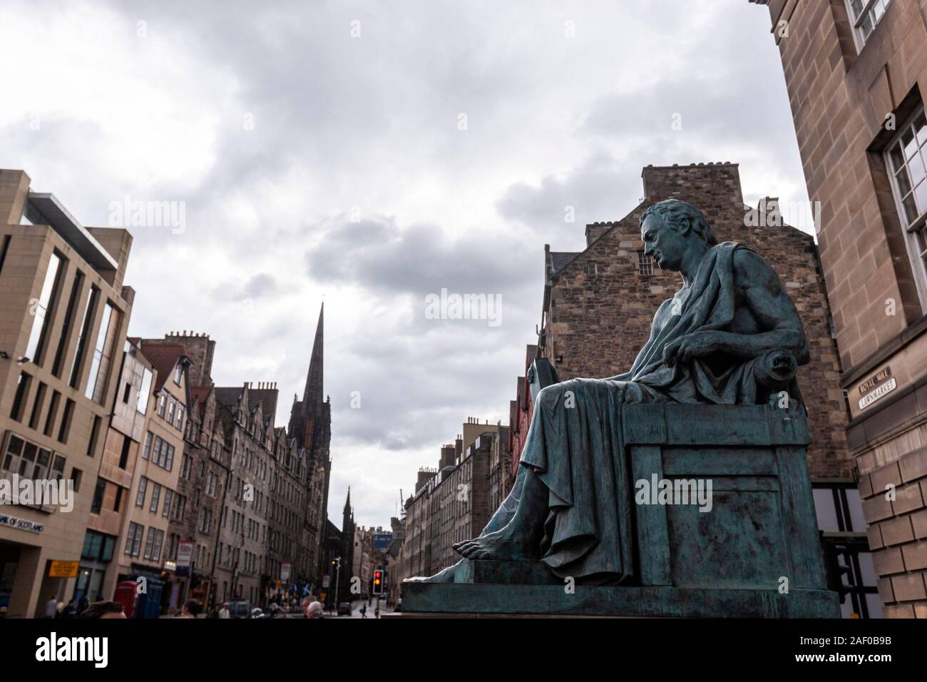 David Hume statue on Royal Mile, sited outside the High Court on Lawnmarket, Edinburgh, Scotland, UK Stock Photo