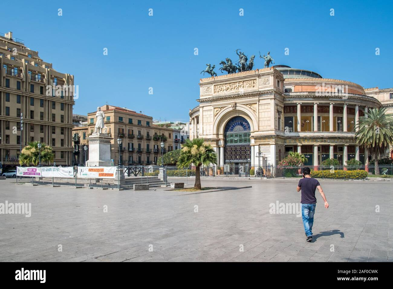 Teatro Politeama Garibaldi at Piazza Ruggero Settimo in Palermo, Sicily.  The theatre completed in 1891 was built for a variety of shows seating 5000 Stock Photo
