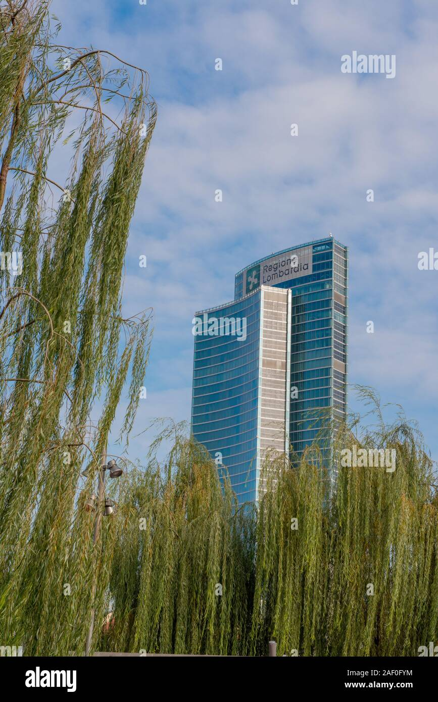 Milan Italy 4 December 2019:Palazzo Lombardia is a unitary complex of buildings, including a 161.3 meter high skyscraper. Stock Photo