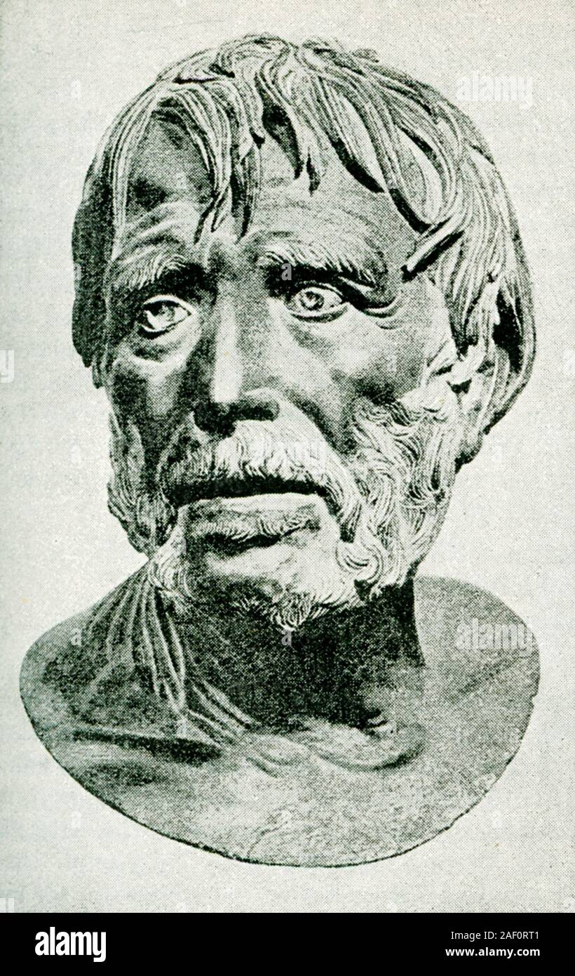 This 1897 illustration is a drawing of an ancient bust of Seneca (died 65 A.D.). Seneca the Younger, fully Lucius Annaeus Seneca and also known simply as Seneca, was a Roman Stoic philosopher, statesman, dramatist, and—in one work—satirist of the Silver Age of Latin literature. Seneca was born in Córdoba in Hispania, and raised in Rome, where he was trained in rhetoric and philosophy. He is probably best known for being a tutor and advisor to emperor Nero. Stock Photo