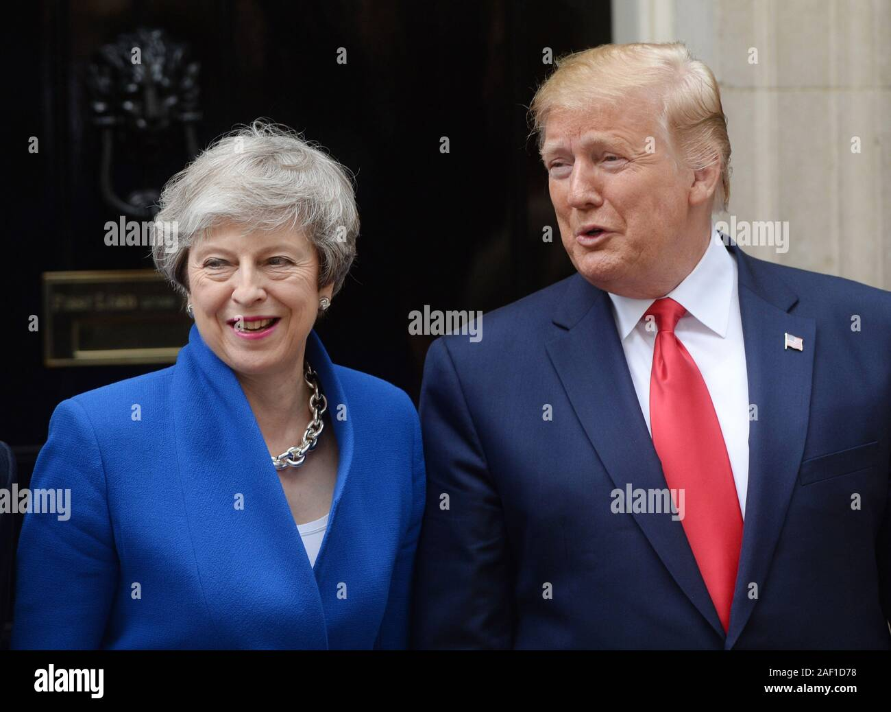 London, UK. 12th Dec, 2019. United States President Donald Trump meets with British Prime Minister Theresa May at No. 10 Downing Street during Trump's State Visit to London on June 4, 2019. Photo by Rune Hellestad/UPI Credit: UPI/Alamy Live News Stock Photo
