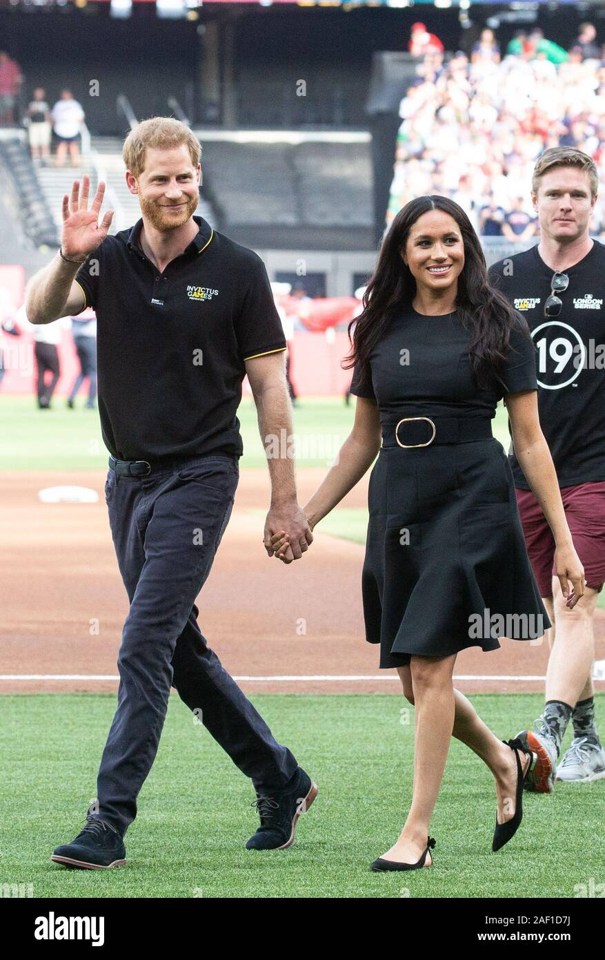 London, UK. 12th Dec, 2019. The Duke and Duchess of Sussex, Prince Harry, and Meghan, walk on the field when the New York Yankees play the Boston Red Sox at the London Stadium in the Queen Elizabeth Olympic Park in London on Saturday, June 29, 2019. Europe's first-ever Major League Baseball game is being played at the London Stadium. Photo by Mark Thomas/UPI Credit: UPI/Alamy Live News Stock Photo