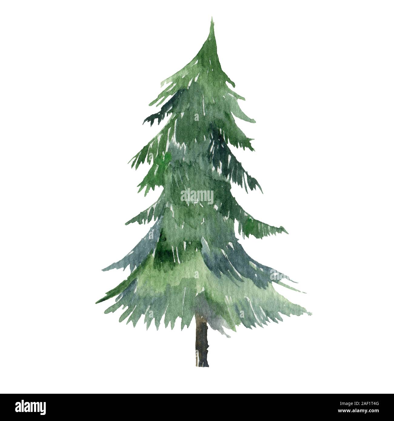 Christmas Tree Silhouette Watercolor Hand Paint Illustration For Design Stock Photo Alamy