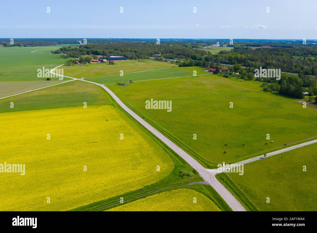 Aerial view of rural landscape Stock Photo