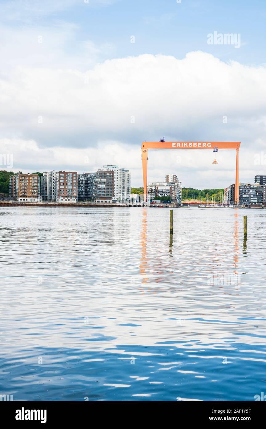 View of gantry crane and buildings in Eriksberg, Gothenburg, Sweden Stock Photo