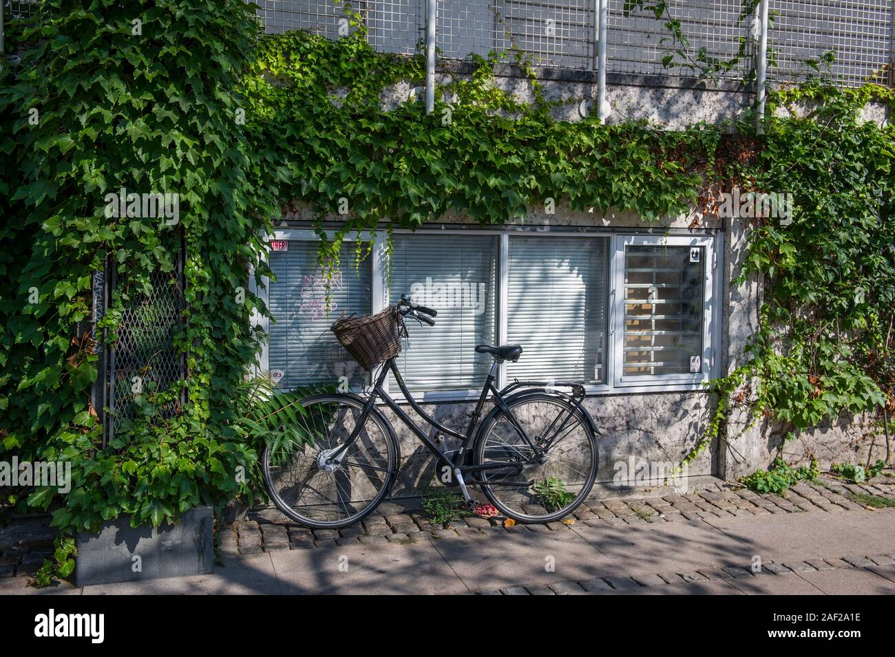 A bicycle leaning against wall in Copenhagen, Denmark Stock Photo