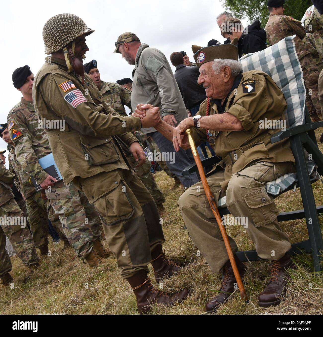 Celebrations For The 75th Anniversary Of The Normandy Landings American Soldiers Of The 101st Airborne Division Parachuted Into The Carentan Marsh On Stock Photo Alamy