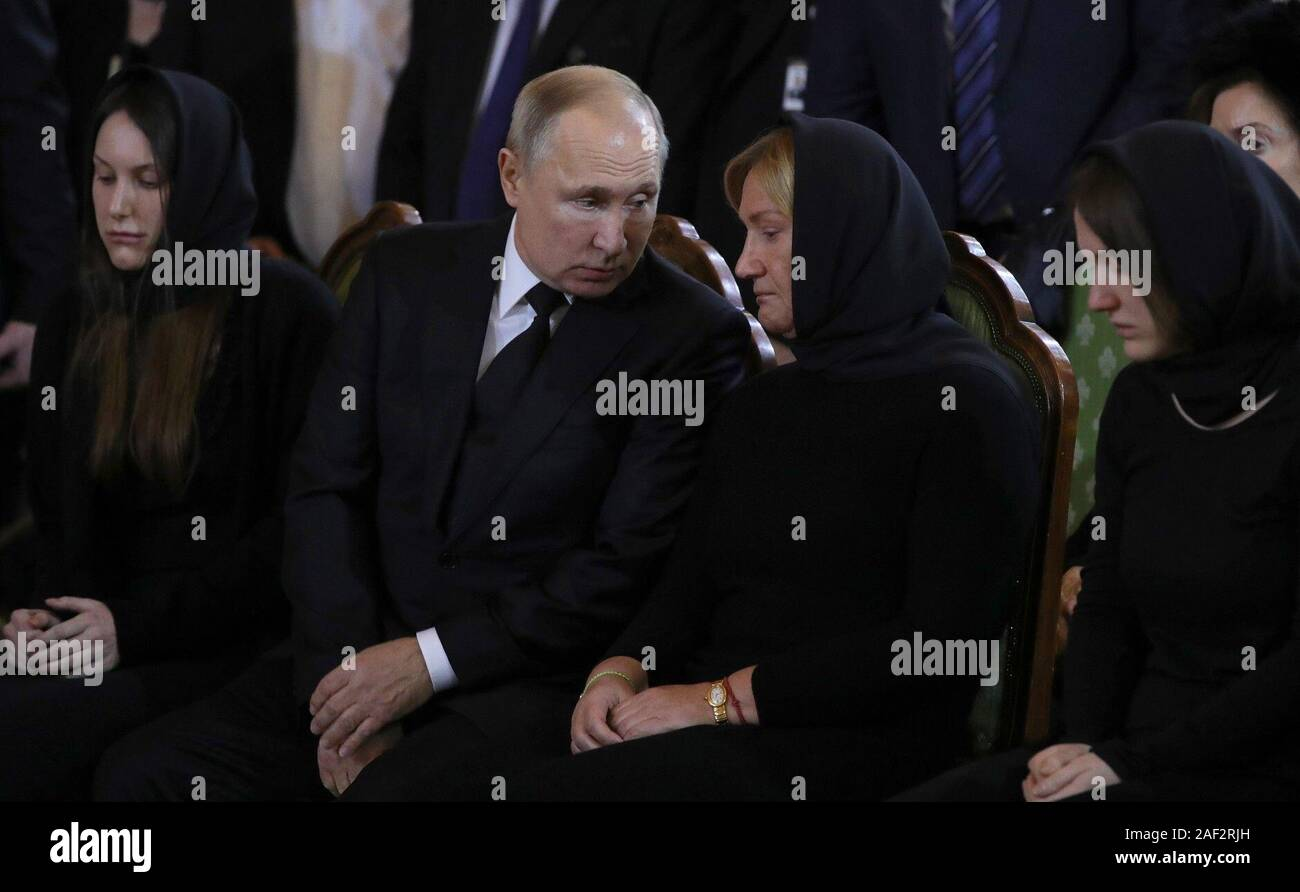 December 12 2019 Russia Moscow Luzhkov S Daughter Elena Russian President Vladimir Putin Luzhkov S Widow Elena Baturina Luzhkov S Daughter Olga From L To R Attend A Farewell Ceremony For Yuri Luzhkov