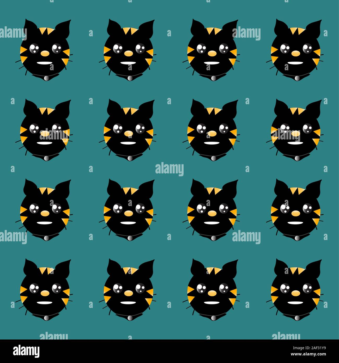 Background Wallpaper Yellow And Orange Patterned Black Cat Head Vector Design On The Background Color Tone Metallic Turquoise Stock Photo Alamy