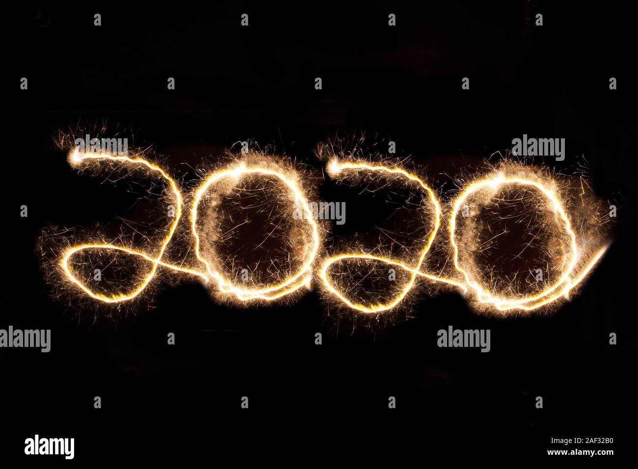 2020, New Years Eve, Light painting, Black Background, Happy new year, Stock Photo