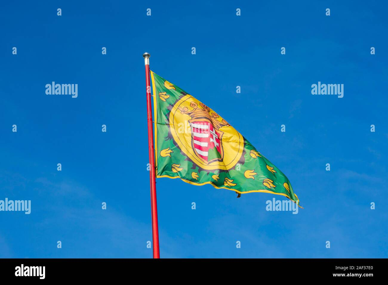 Royal flag at Buda Castle, Winter in Budapest, Hungary. December 2019 Stock Photo