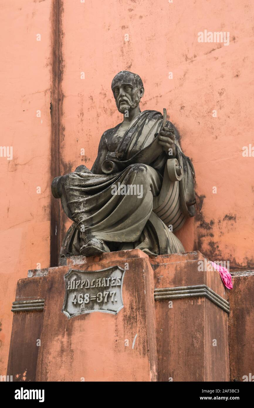 Salvador, Brazil - Circa September 2019: Statue of Hippocrates at the old building of School of Medicine of Bahia Stock Photo