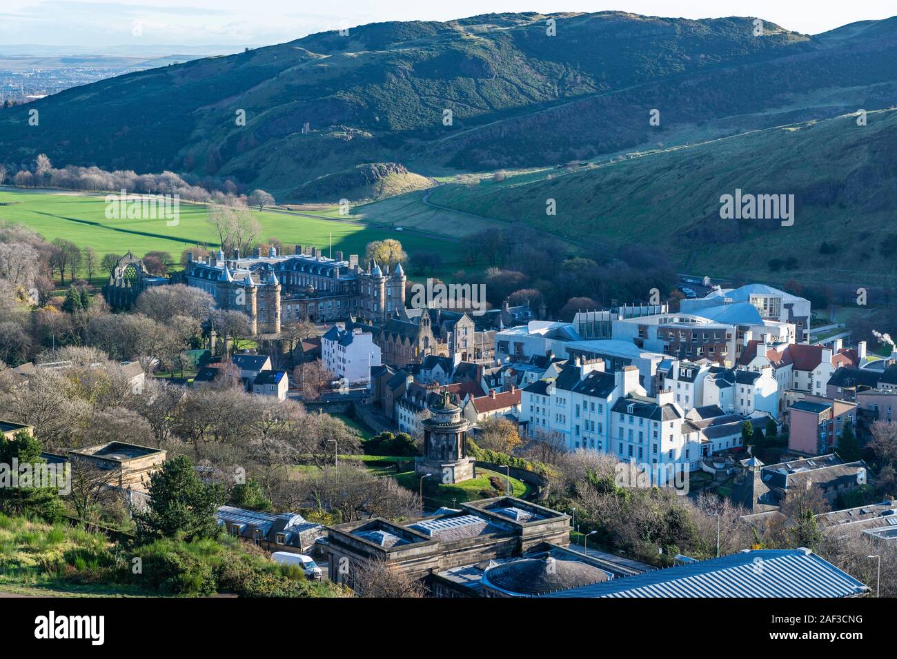 Aerial view of the Palace of Holyroodhouse with Arthur's Seat in the background, Edinburgh, Scotland Stock Photo