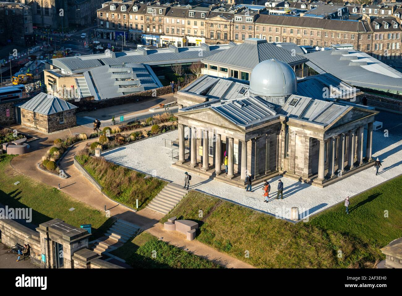 Aerial view of restored City Observatory, now the Collective Arts Centre, on Calton Hill, Edinburgh, Scotland, UK Stock Photo