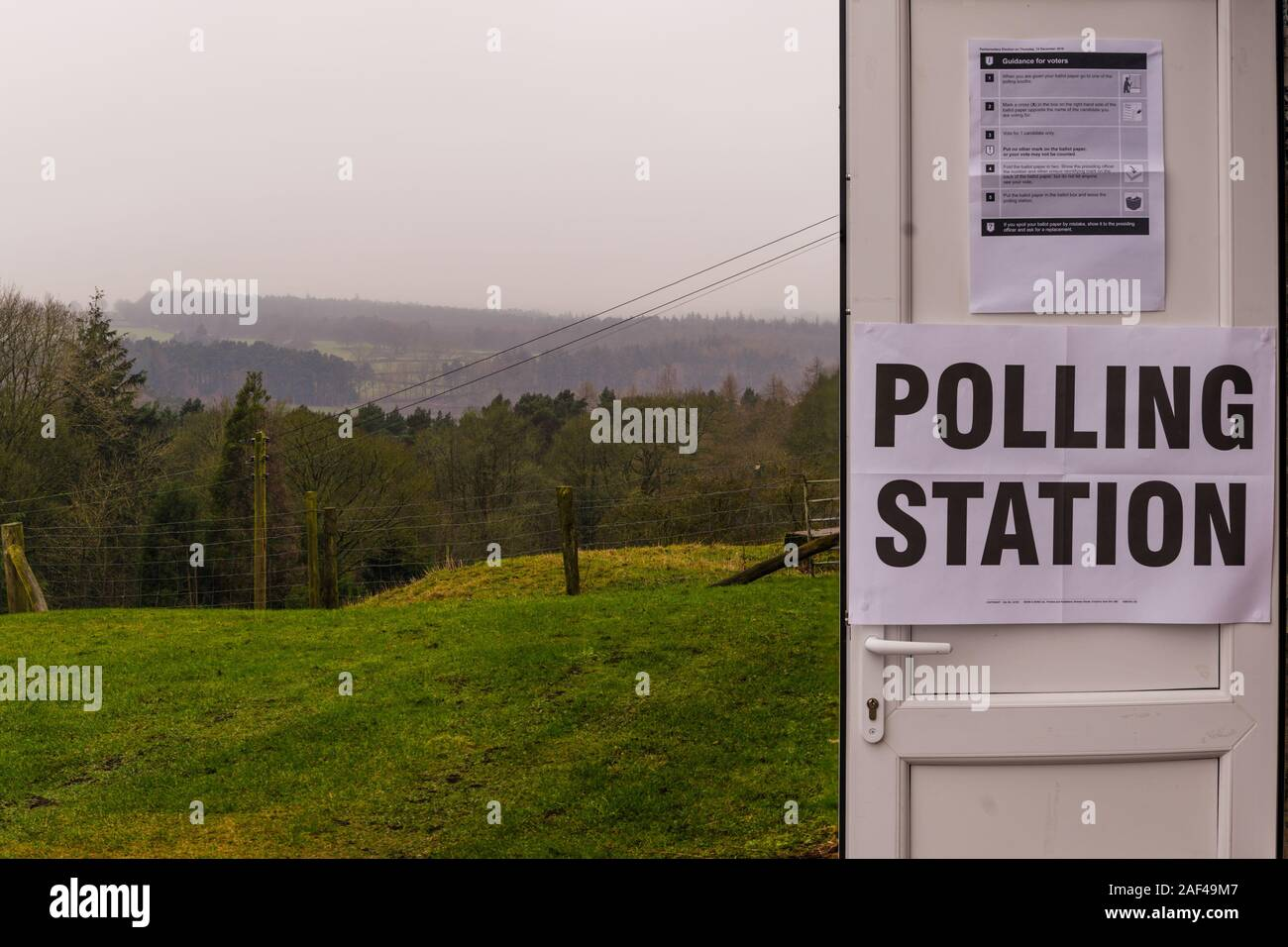 Harrogate District, Yorkshire, UK. 12th Dec 2019. News: General Election Day in the United Kingdom, Harrogate, United Kingdom. 12th December, 2019. General views of open polling stations around the Harrogate district/Yorkshire Dales/Nidderdale. Polling stations open around the Harrogate and North Yorkshire district with bad weather forecast for different times of the day, including heavy rain, freezing mist and heavy fog Harrogate, North Yorkshire, UK. Credit: Caught Light Photography/Alamy Live News. Stock Photo