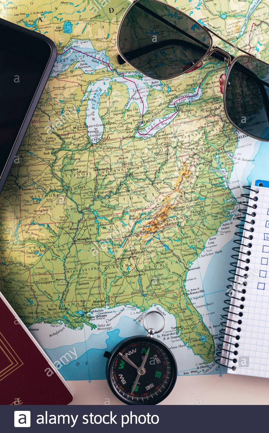 Picture of: Travel Concept Planning Road Trip Across The East Side Of The Usa Compass Smartphone Sunglasses Checklist On A Map Stock Photo Alamy
