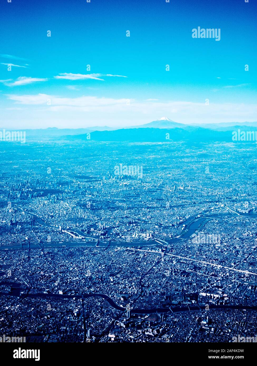 Aerial view of Toko with Mount Fuji in the background Stock Photo
