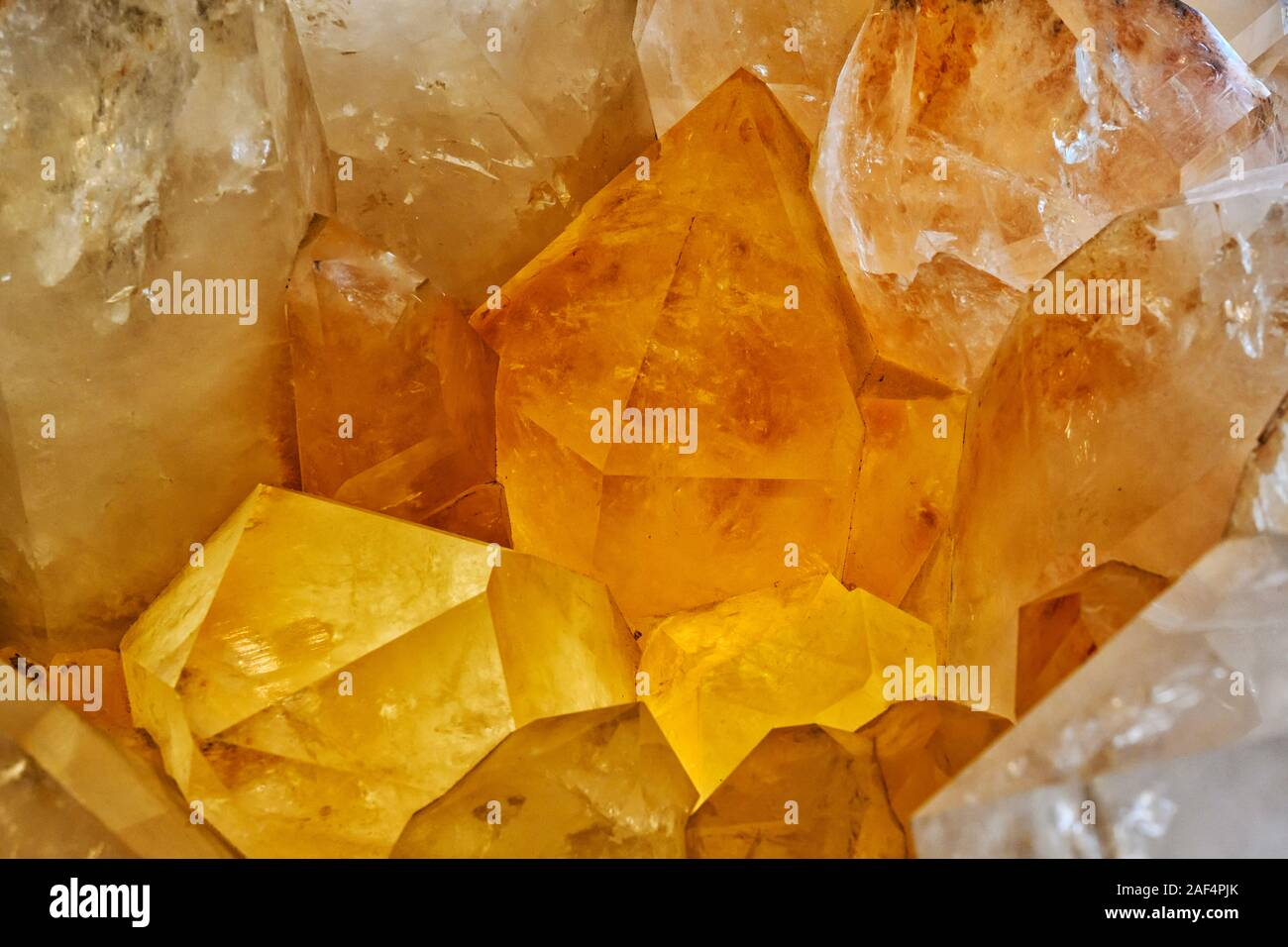 Closeup of large quartz crystal cluster from Arkansas Stock Photo