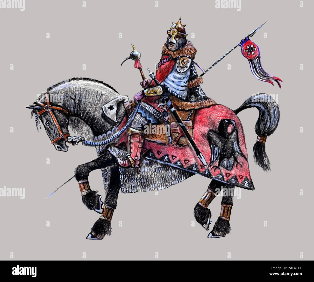 Mounted Fantasy Knight Illustration Barbarian Rider On The Black Horse Stock Photo Alamy