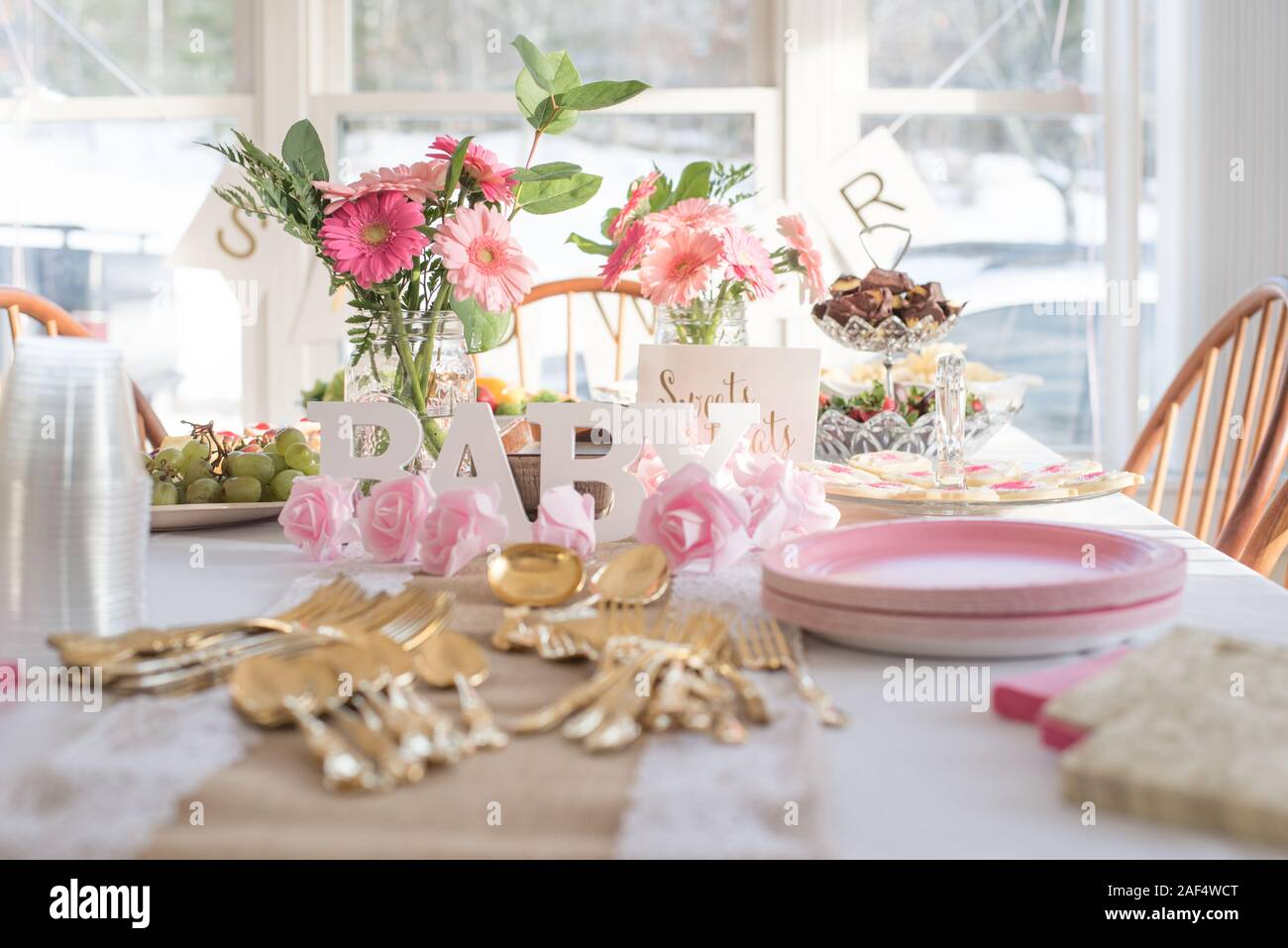 Shabby Chic Pink Gold Baby Shower Decorations And Table
