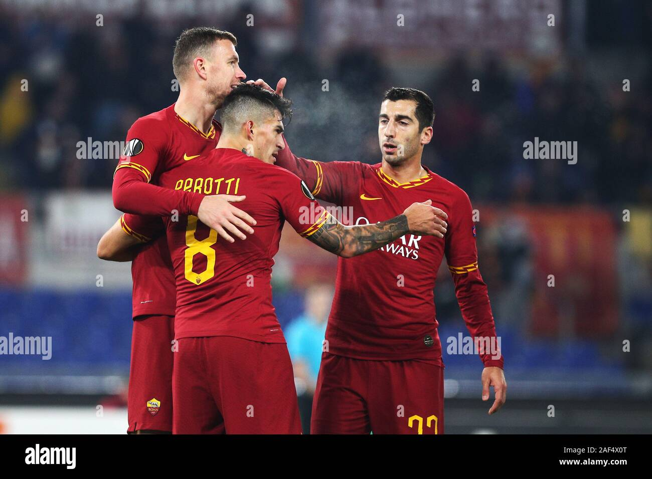 Edin Dzeko of Roma celebrates with his teammates after scoring 2-1 goal during the UEFA Europa League, Group J football match between AS Roma and Wolfsberg AC on December 12, 2019 at Stadio Olimpico in Rome, Italy - Photo Federico Proietti/ESPA-Imaes Stock Photo