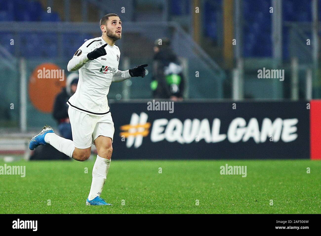 Shon Weissman of Wolfsberg celebrates after scoring 2-2 goal  during the UEFA Europa League, Group J football match between AS Roma and Wolfsberg AC on December 12, 2019 at Stadio Olimpico in Rome, Italy - Photo Federico Proietti/ESPA-Images Stock Photo