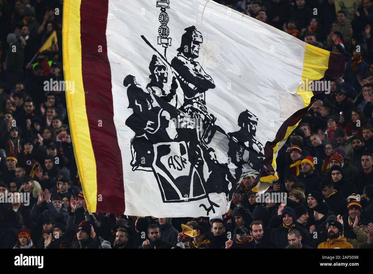 Supporters of Roma show a flag during the UEFA Europa League, Group J football match between AS Roma and Wolfsberg AC on December 12, 2019 at Stadio Olimpico in Rome, Italy - Photo Federico Proietti/ESPA-Images Stock Photo