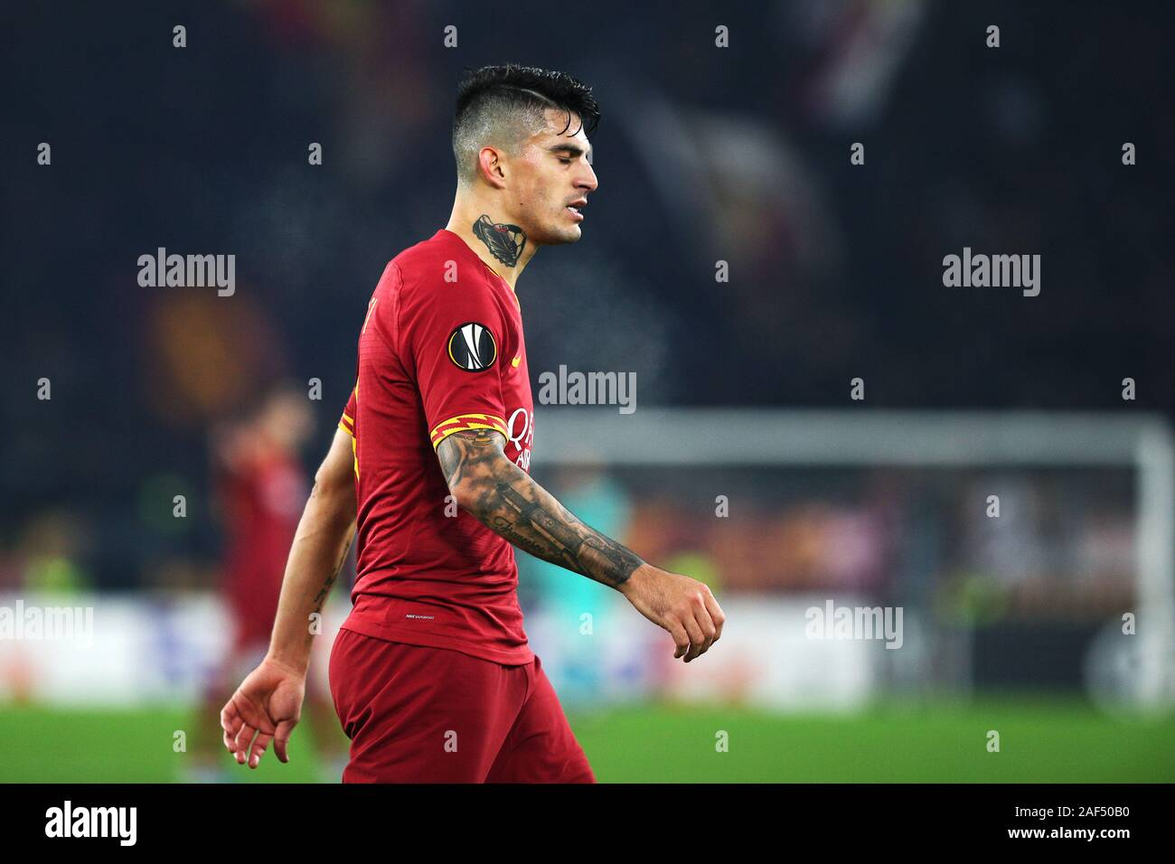 Diego Perotti of Roma reacts during the UEFA Europa League, Group J football match between AS Roma and Wolfsberg AC on December 12, 2019 at Stadio Olimpico in Rome, Italy - Photo Federico Proietti/ESPA-Images Stock Photo