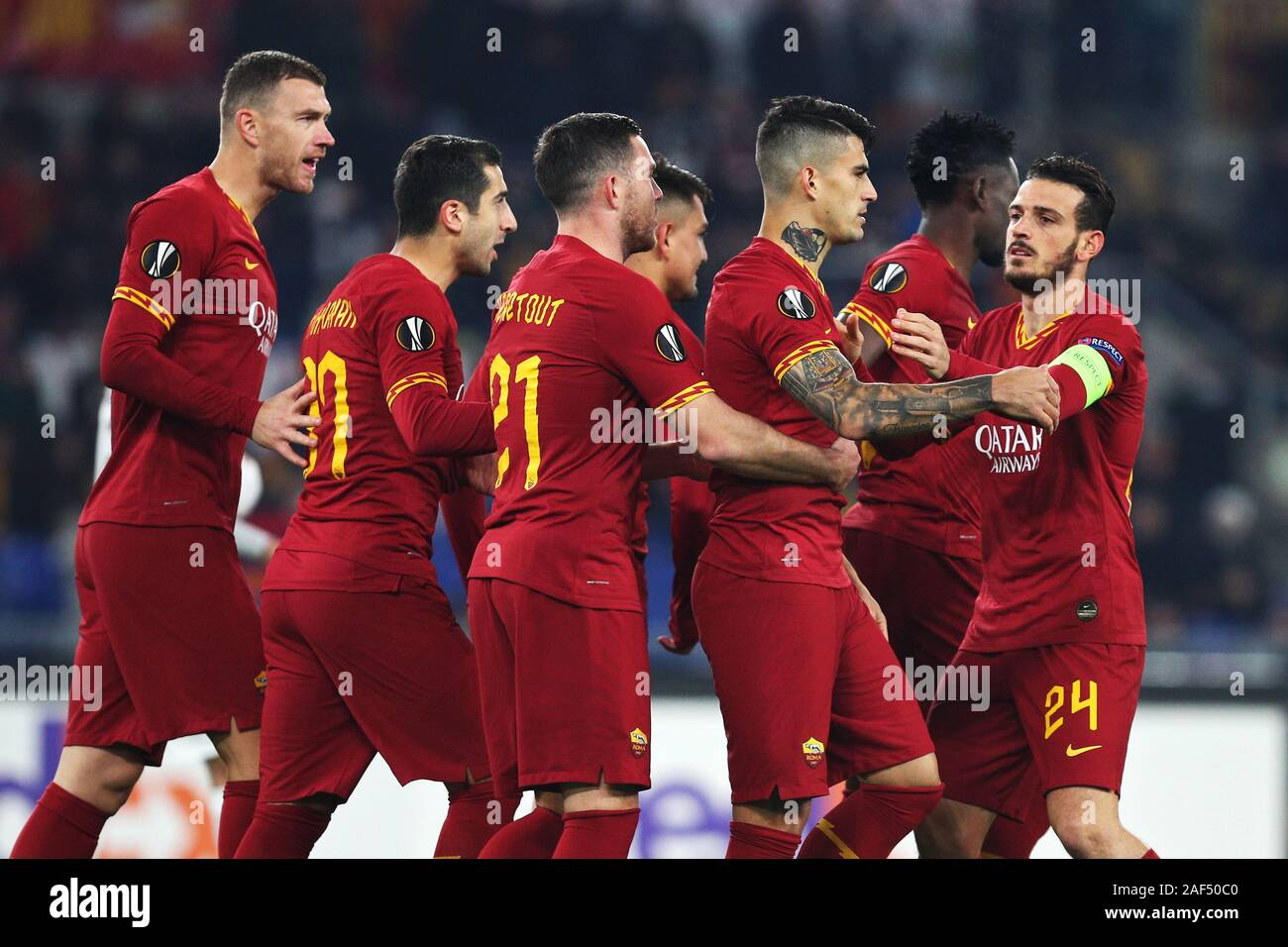 Diego Perotti of Roma celebrates with his teammates after scoring 1-0 goal during the UEFA Europa League, Group J football match between AS Roma and Wolfsberg AC on December 12, 2019 at Stadio Olimpico in Rome, Italy - Photo Federico Proietti/ESPA-Imaes Stock Photo