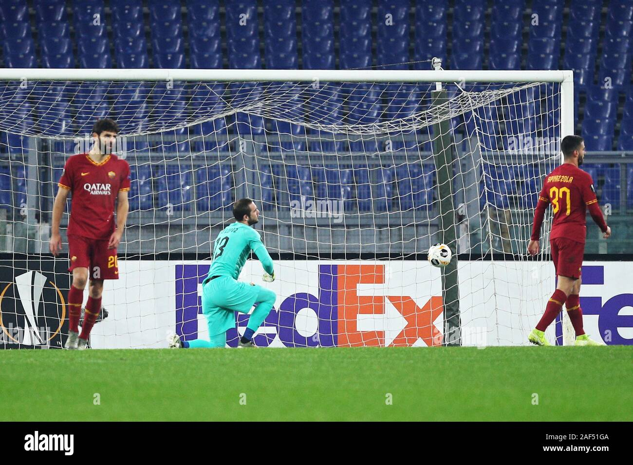 Roma players react after Shon Weissman of Wolfsberg scores 2-2 goal during the UEFA Europa League, Group J football match between AS Roma and Wolfsberg AC on December 12, 2019 at Stadio Olimpico in Rome, Italy - Photo Federico Proietti/ESPA-Images Stock Photo