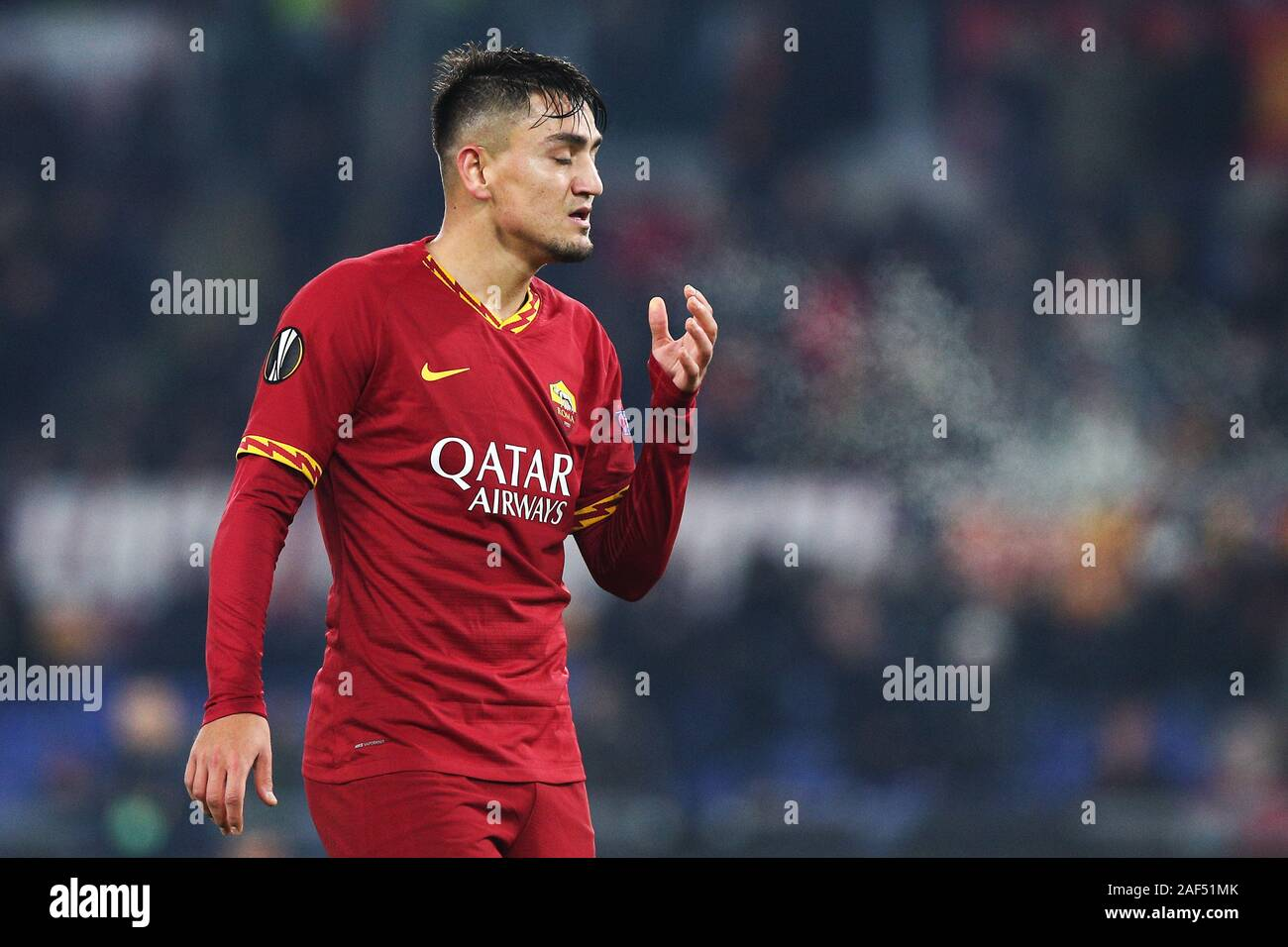 Cengiz Under of Roma reacts during the UEFA Europa League, Group J football match between AS Roma and Wolfsberg AC on December 12, 2019 at Stadio Olimpico in Rome, Italy - Photo Federico Proietti/ESPA-Images Stock Photo