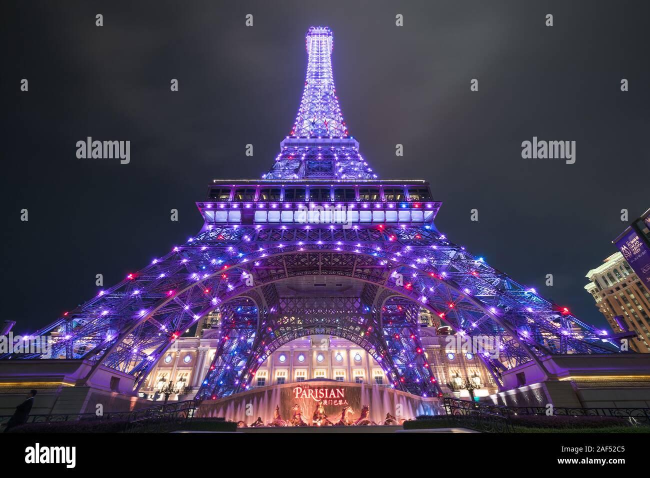 Macau, China - October 15, 2017 : Macau Eiffel Tower, icon of The Parisian, a luxury Resort Hotel Casino in Cotai Strip owned by Las Vegas Sands, shin Stock Photo