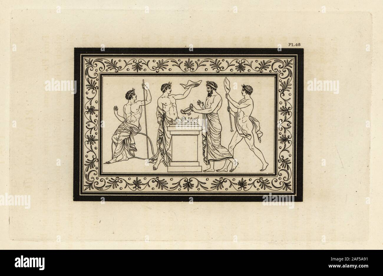 Ancient Roman sacrifice to Bacchus. A priest prepares a libation on the altar. Copperplate engraving by Thomas Kirk (1765-1797)  from Sir William Hamilton's Outlines from the Figures and Compositions upon the Greek, Roman and Etruscan Vases of the Late Sir Hamilton, T. M'Lean, London, 1834. Stock Photo