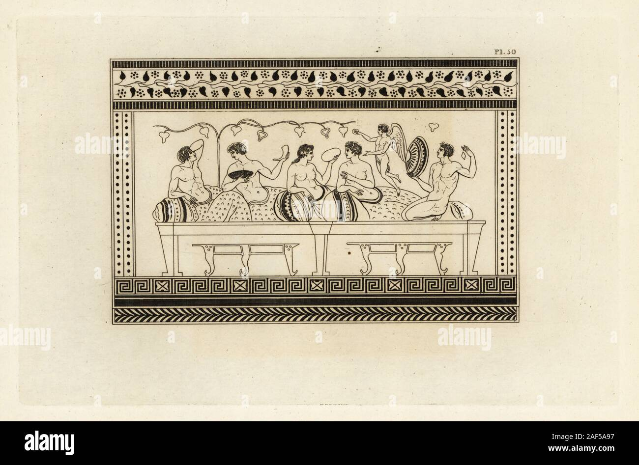 Bacchanalia or festival to Bacchus, Roman god of wine. Men and women lounge on sofas at a feast, while a genius of Bacchus flies above. Copperplate engraving by Thomas Kirk (1765-1797)  from Sir William Hamilton's Outlines from the Figures and Compositions upon the Greek, Roman and Etruscan Vases of the Late Sir Hamilton, T. M'Lean, London, 1834. Stock Photo