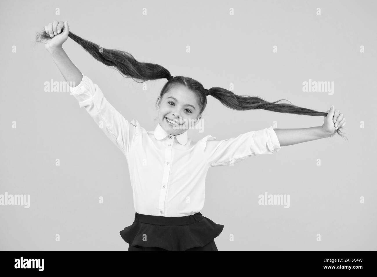 Schoolgirl pupil long hair cute ponytails hairstyle. Educational