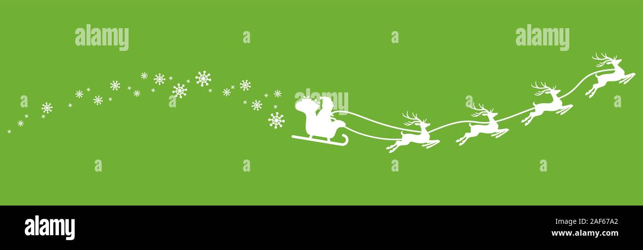 white Santa Claus with sled, reindeers and some snow flakes isolated on colored background Stock Vector