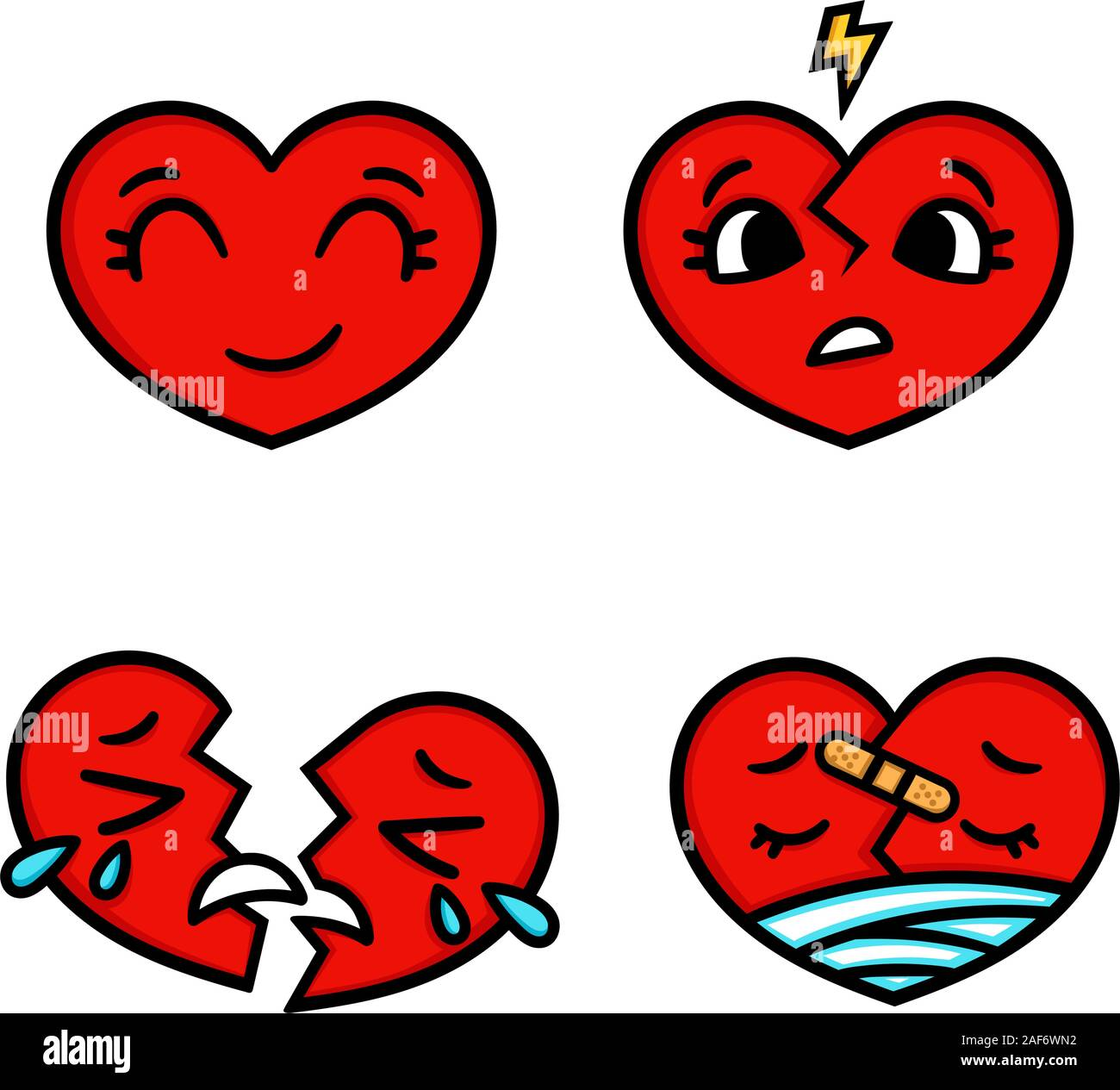 cute cartoon emoticon hearts set happy sad broken doodle style vector heart illustration isolated on white background heart collection emoticon 2AF6WN2
