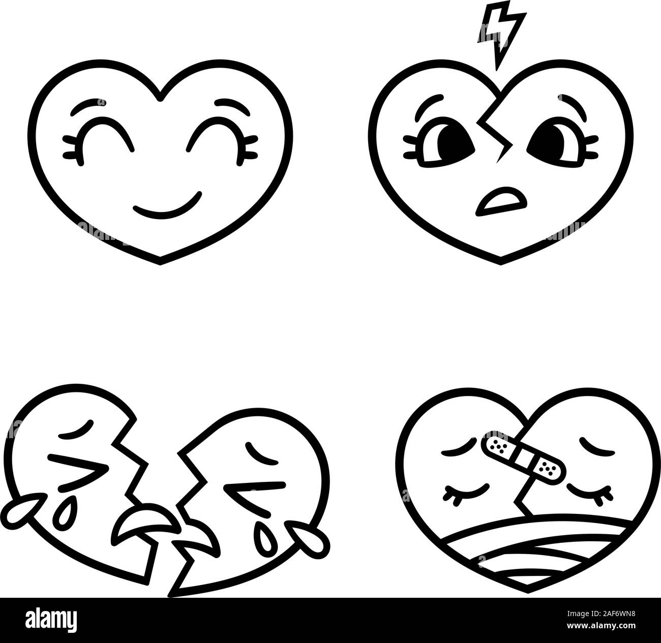 cute cartoon emoticon hearts set happy sad broken doodle style vector illustration isolated on white background heart collection emoticons emo 2AF6WN8