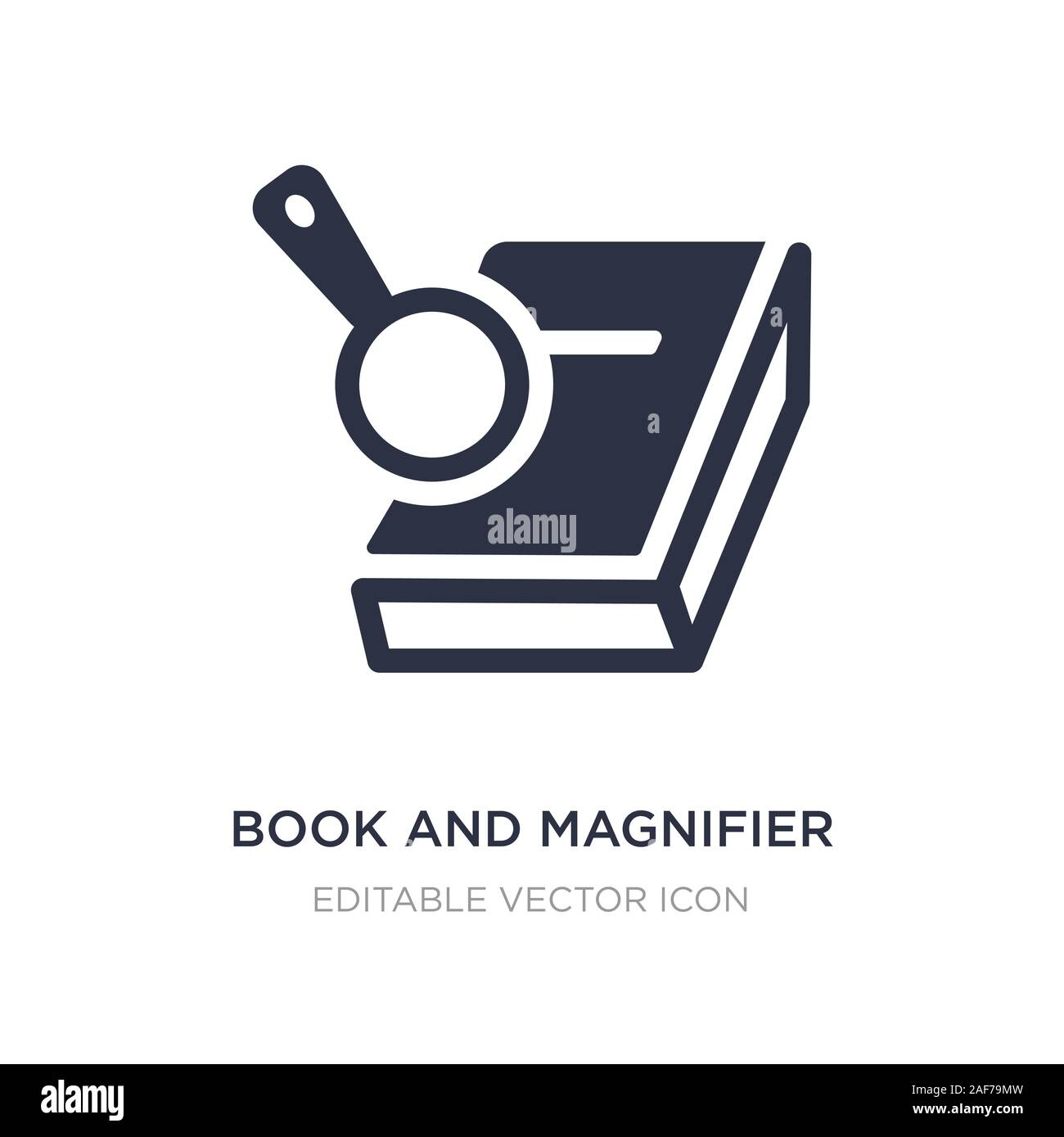 book and magnifier icon on white background. Simple element illustration from Education concept. book and magnifier icon symbol design. Stock Vector