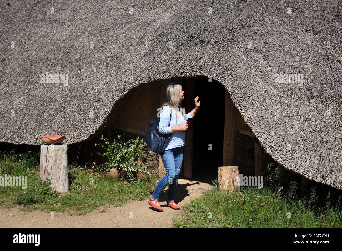 Long house in the Open air museum Archäologisches Zentrum, Hitzacker / Elbe, Lower Saxony, Germany Stock Photo