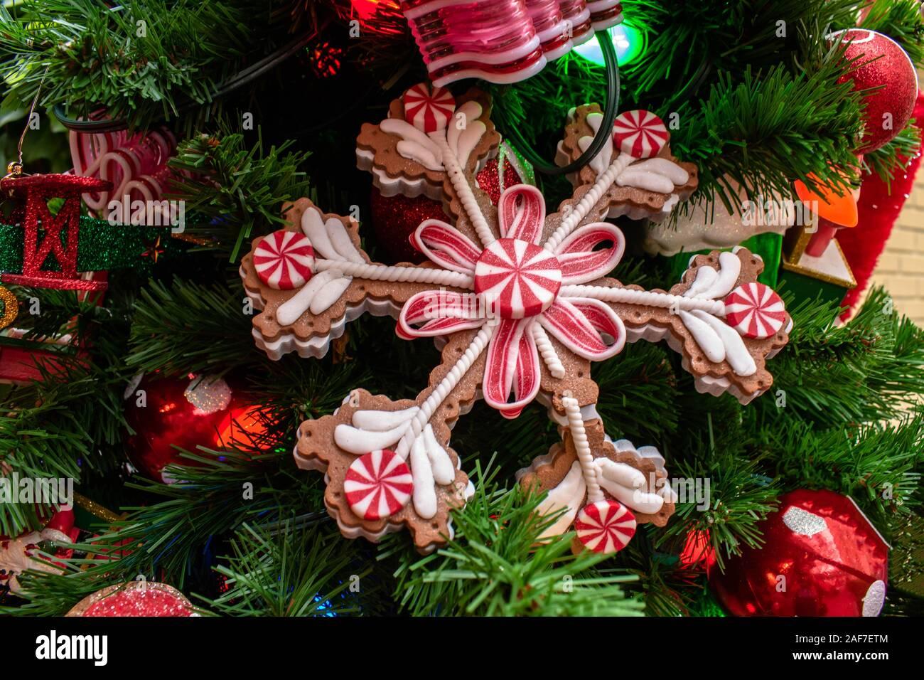 Orlando Florida November 15 2019 Colorful Christmas Ornaments At Magic Kingdom Stock Photo Alamy