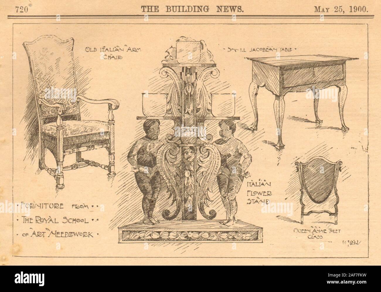 Furniture. Royal School of Art Needlework. Italian Jacobean Queen Anne 1900 Stock Photo