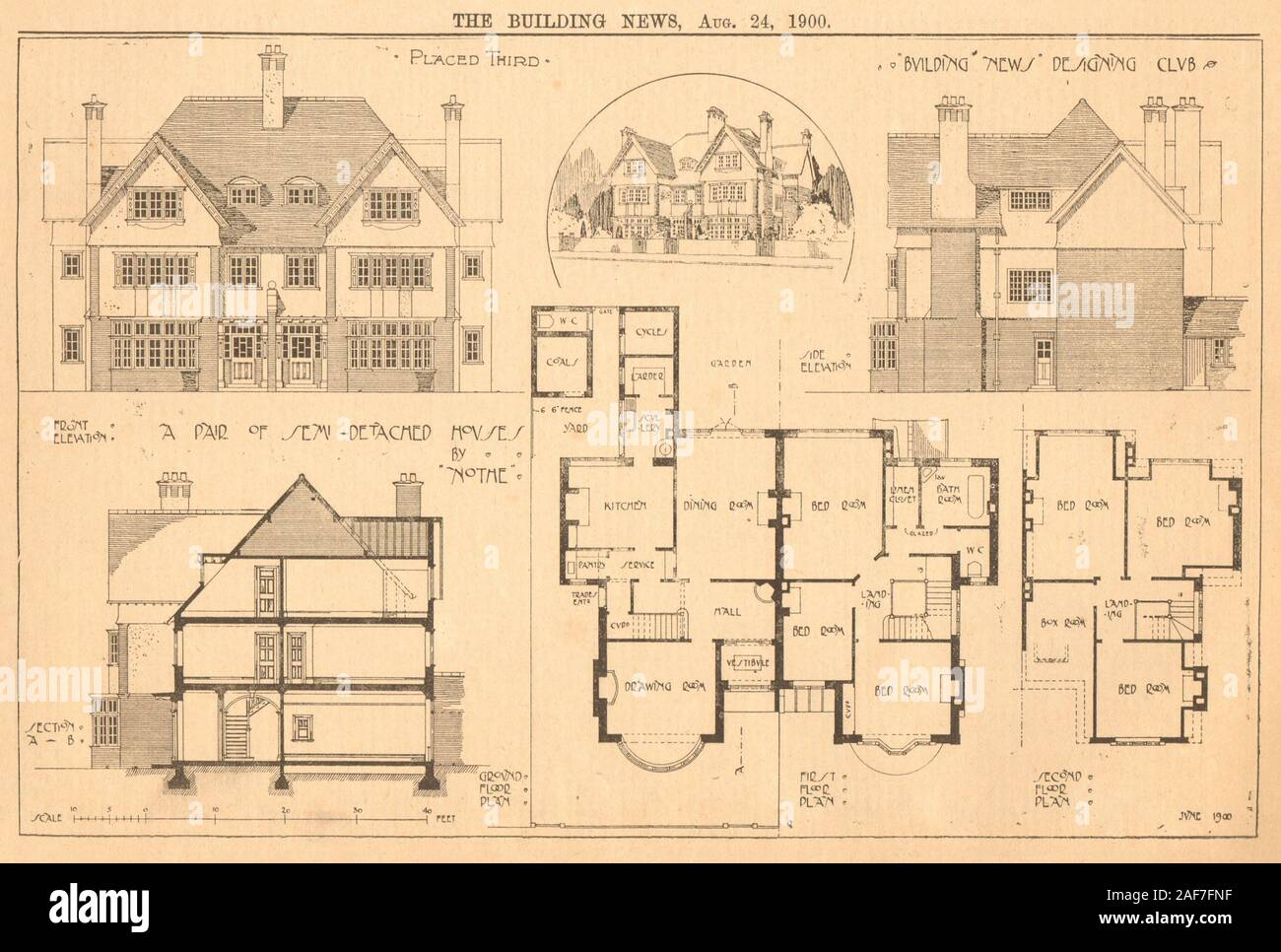 A Pair Of Semi Detached House By Nothe Floor Plans 1900 Old Antique Print Stock Photo Alamy