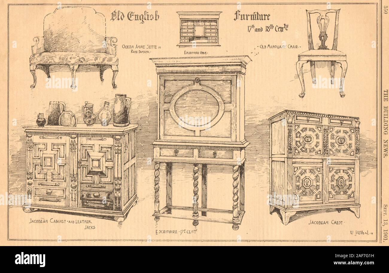 English furniture 17-18th Century Queen Anne settee chair Jacobean cabinet 1901 Stock Photo