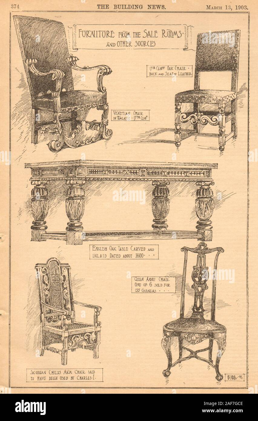 Furniture. 17C chair Venetian English table Queen Anne Jacobean Charles I 1903 Stock Photo